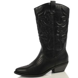 Shoes - BLACK cowboy knee high pull on boot
